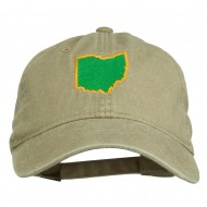 Ohio State Map Embroidered Washed Cotton Cap - Khaki