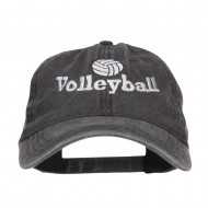 Volleyball Embroidered Washed Buckle Cap - Black