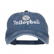 Volleyball Embroidered Washed Buckle Cap - Navy