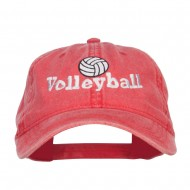 Volleyball Embroidered Washed Buckle Cap - Red