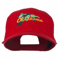 USA State Oklahoma Mistletoe Embroidered Low Profile Cap - Red