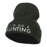 Let's Go Haunting Embroidered Long Beanie - Olive