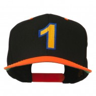 Number 1 Embroidered Classic Two Tone Snapback Cap - Neon Orange