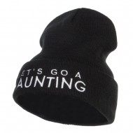 Let's Go Haunting Embroidered Long Beanie - Black