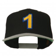 Number 1 Embroidered Classic Two Tone Snapback Cap - Black Silver