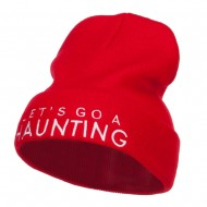 Let's Go Haunting Embroidered Long Beanie - Red