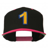 Number 1 Embroidered Classic Two Tone Snapback Cap - Black Pink