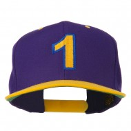 Number 1 Embroidered Classic Two Tone Snapback Cap - Purple Gold