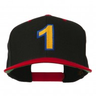 Number 1 Embroidered Classic Two Tone Snapback Cap - Black Red