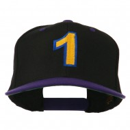 Number 1 Embroidered Classic Two Tone Snapback Cap - Black Purple