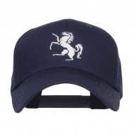 Horse Emblem Embroidered Low Profile Cap - Navy
