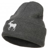 American Moose Embroidered Long Beanie - Dk Grey