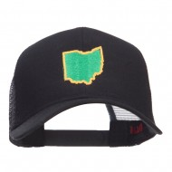 Ohio State Map Embroidered Mesh Cap - Black