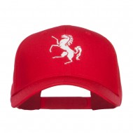 Horse Emblem Embroidered Low Profile Cap - Red