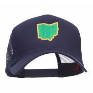 Ohio State Map Embroidered Mesh Cap - Navy