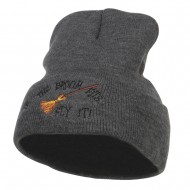 If The Broom Fits Embroidered Long Beanie - Dk Grey