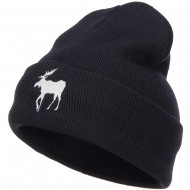 American Moose Embroidered Long Beanie - Navy