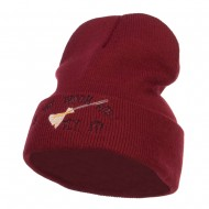 If The Broom Fits Embroidered Long Beanie - Maroon