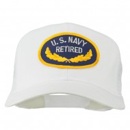 US Navy Retired Emblem Patched Mesh Cap - White