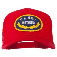 US Navy Retired Emblem Patched Mesh Cap - Red