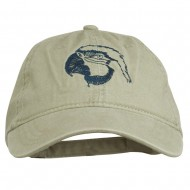 Outline Image of a Parrot Embroidered Washed Cap - Stone