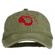 Outline Image of a Parrot Embroidered Washed Cap - Dark Green