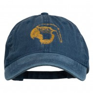 Outline Image of a Parrot Embroidered Washed Cap - Navy