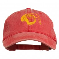 Outline Image of a Parrot Embroidered Washed Cap - Red