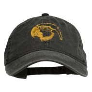 Outline Image of a Parrot Embroidered Washed Cap - Black