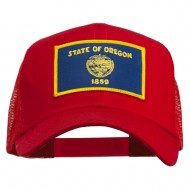 Oregon State Flag Patched Mesh Cap - Red