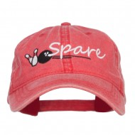 Bowling Spare Embroidered Washed Cap - Red