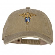 Army Nurse Corps Officer Embroidered Big Size Washed Cap - Khaki
