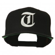 Old English T Embroidered Snapback Cap - Black