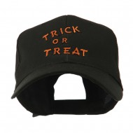 Halloween Orange Trick or Treat Embroidered Cap - Black