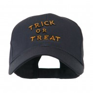 Halloween Orange Trick or Treat Embroidered Cap - Navy