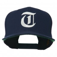 Old English T Embroidered Snapback Cap - Navy