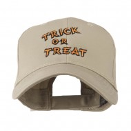 Halloween Orange Trick or Treat Embroidered Cap - Khaki