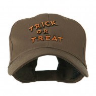 Halloween Orange Trick or Treat Embroidered Cap - Brown