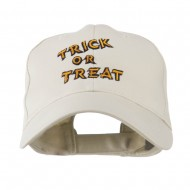 Halloween Orange Trick or Treat Embroidered Cap - Stone