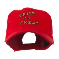 Halloween Orange Trick or Treat Embroidered Cap - Red