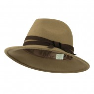 Women's Double Tie Accent Outback Felt Hat - Brown