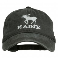Maine State Moose Embroidered Washed Dyed Cap - Black