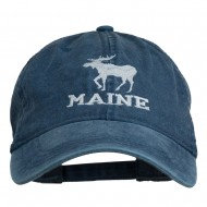 Maine State Moose Embroidered Washed Dyed Cap - Navy