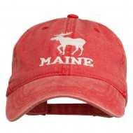 Maine State Moose Embroidered Washed Dyed Cap - Red