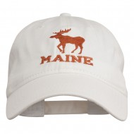 Maine State Moose Embroidered Washed Dyed Cap - White