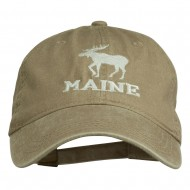 Maine State Moose Embroidered Washed Dyed Cap - Khaki