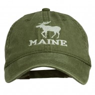 Maine State Moose Embroidered Washed Dyed Cap - Olive Green