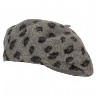 Wool Blend Beret Hat with Animal Print - Grey