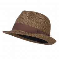 Men's Paper Braid Band Fedora - Black Tan