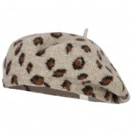 Wool Blend Beret Hat with Animal Print - Ivory